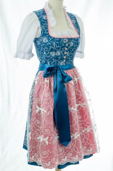dunkelblaues Midi-Dirndl, rosa Schürze mit Organza, Tramontana