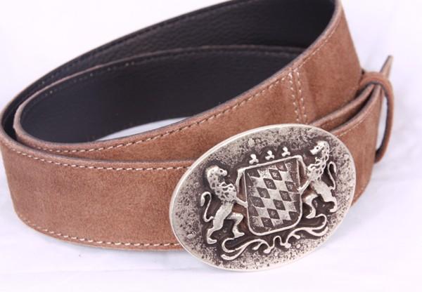 Ledergürtel mit Wappen, hellbraun