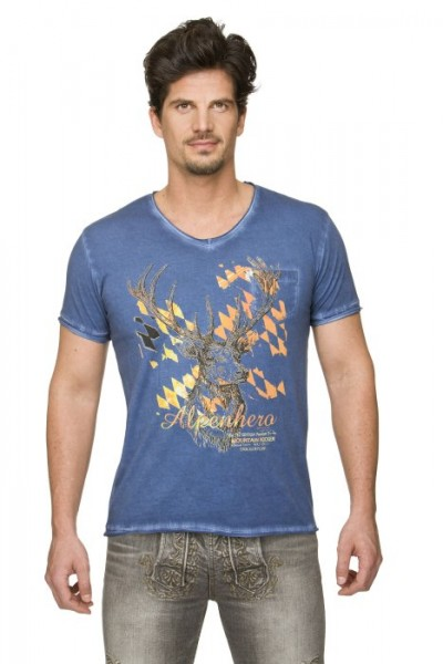 "Trachten T-Shirt ""Feli2"" blau oil-washed, Stockerpoint"