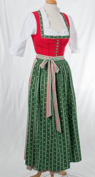 """Waschdirndl in lang, rot, grüne Schürze, """"Tracht`n Bäda"""""""
