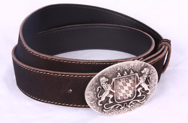 Ledergürtel zur Tracht, ovales Wappen silber, braun