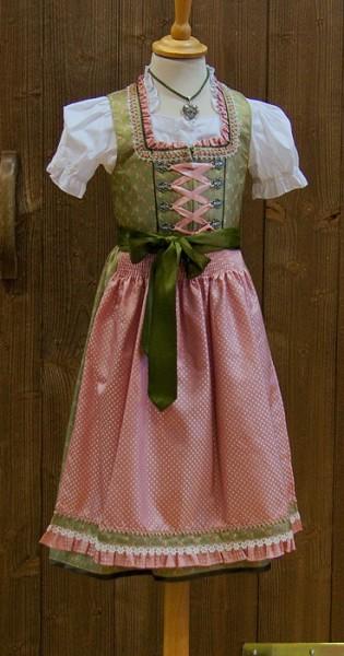 Kinderdirndl Krüger Madl in grün und rosa