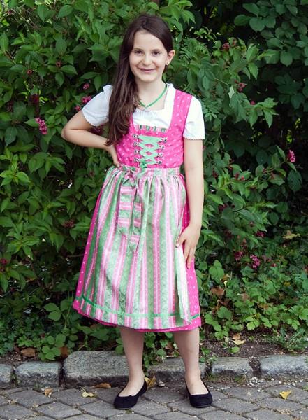 Mädchen-Dirndl in kräftigem pink mit rosa-gruen gestreifter Schürze, Isar Trachten