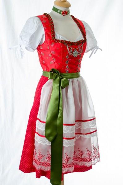"""Damendirndl, midi, rot, weiße Schürze, """"Tracht`n Bäda"""""""