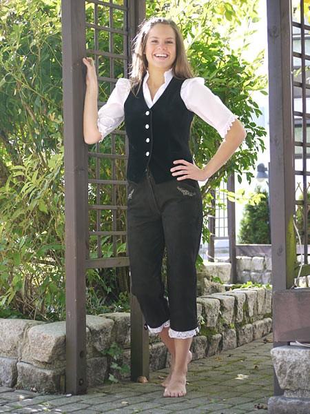 Trachten Lederhose für Damen 3/4 dunkelbraun,Rüsche