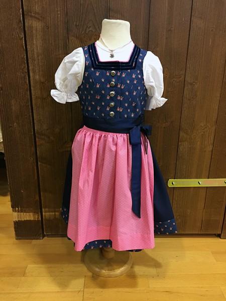 Dunkelblaues Kinderdirndl mit rosa Schürze von Country Line