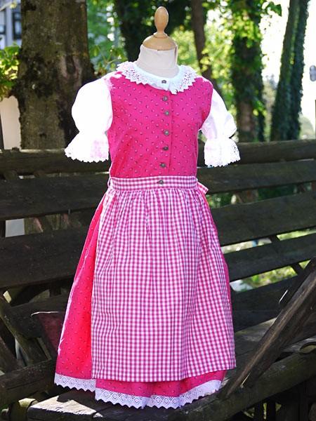 """Kinderdirndl in pink mit Streublümchen, """"52401"""", Isar Trachten"""
