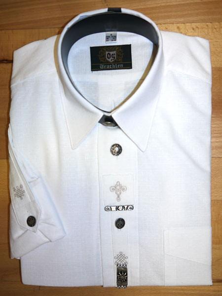 Trachtenhemd weiß - mit silbernen Applikationen, OS-Trachten