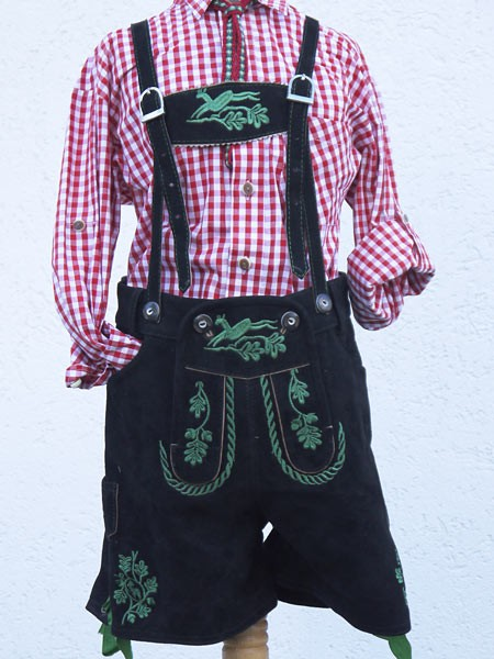 Kurze Plattler Lederhose für Kinder in schwarzgrün gestickt, Isar Trachten