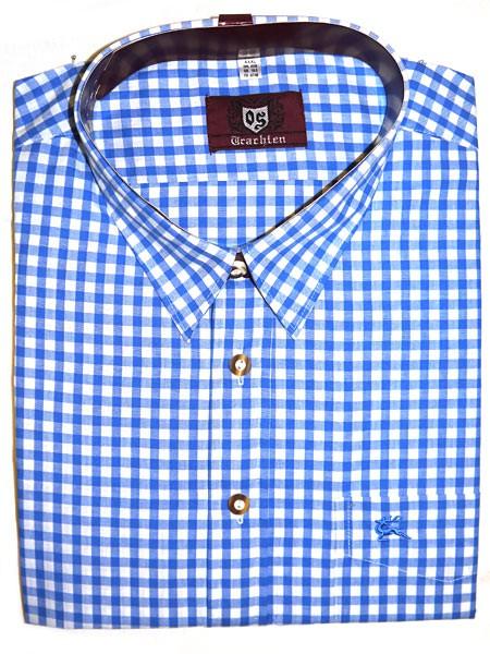 Blau kariertes Trachtenhemd