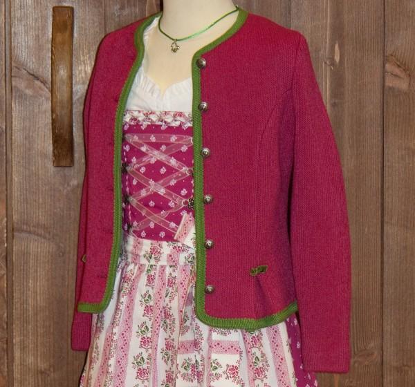 Strickjacke in Pink mit wiesengrüner Umrandung, Litzlfelder