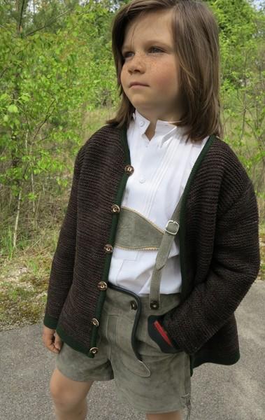 Trachtenjacke für Kinder, braun, Isar Trachten mit Kellerfalte