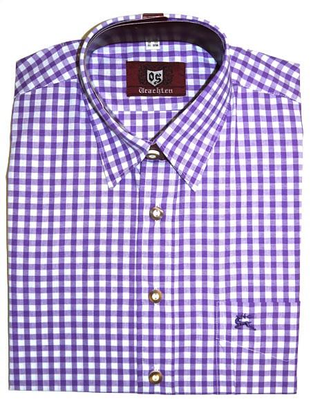 Trachtenhemd kariert lila, OS-Trachten