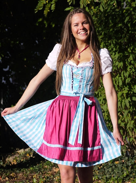 Dirndl hellblau kariert mit pink, Country Line