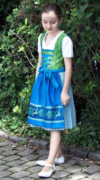 Jugend Dirndl grün-blau-weiß kariert mit blauer Schürze mit Hirschmotiv, Isar Trachten