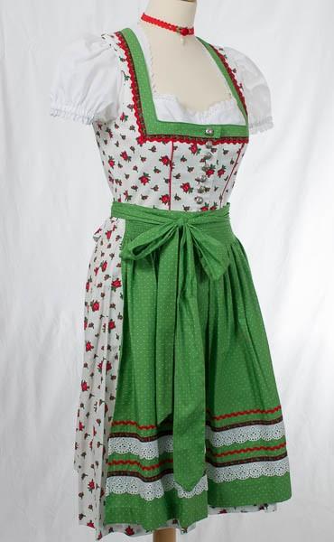 """weißes Midi-Dirndl mit Rosen, grüne Schürze,""""Tracht`n Bäda"""""""