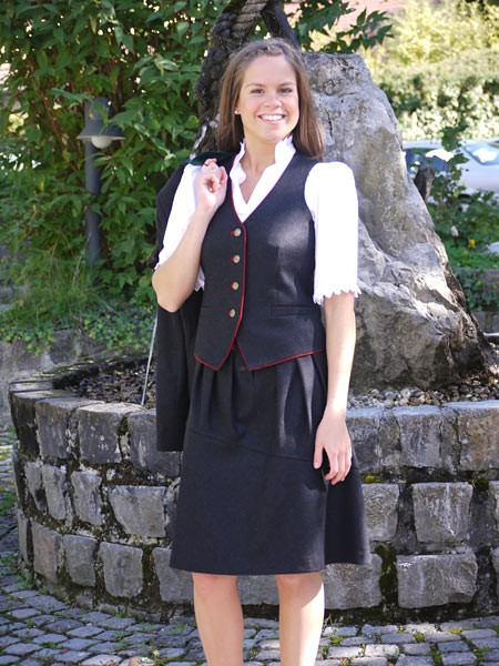 Damenrock knielang anthrazit, Bauer