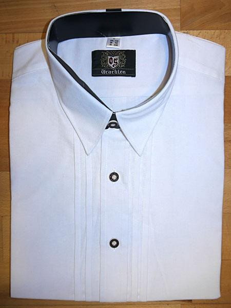 Herrenhemd weiß - klassisch durchgeknöpft mit Liegekragen, OS-Trachten