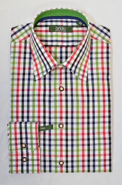 """kariertes Herrenhemd, blau, grün, schwarz, weiß, Arido, """"Slim"""""""