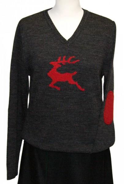Strickpullover anthrazit mit Hirschmotiv, in rot, V-Ausschnitt, OS-Trachten