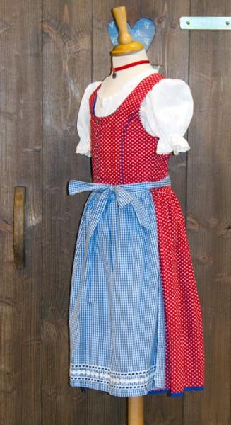 Kinder-Dirndl rot mit blau-weiß karierte Schürze, Isar Trachten