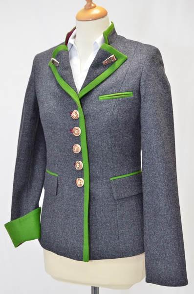 """Damen Janker, grau, apfelgrünes Revers """"9035-U2"""" Bauer"""
