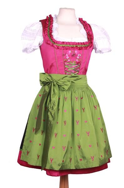 Mini Dirndl, pink-grün mit Hirschen und Herzen
