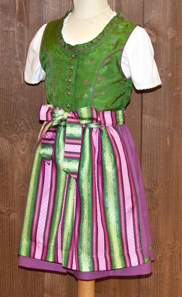 Kinder-Dirndl in kräftigem grün geblumt und pink mit pink-grün gestreifter Schürze, Isar Trachten