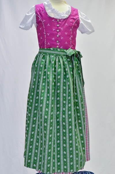 """Kinderdirndl beerenfarben mit grüner Schürze, """"64164"""" Isar-Trachten"""