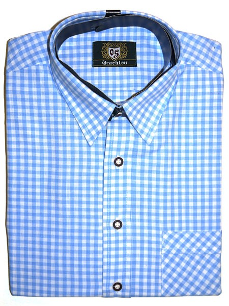 Trachtenhemd kariert hellblau, OS-Trachten