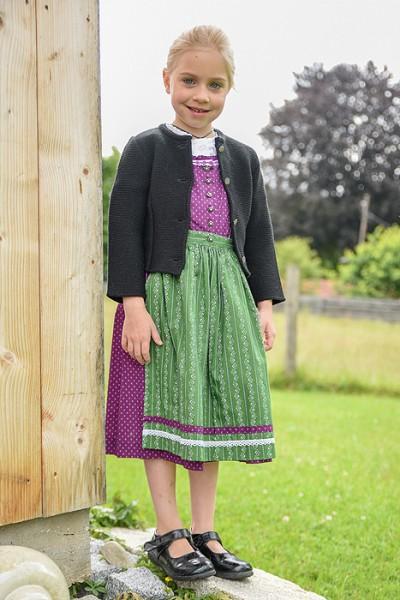 Kinder-Dirndl lila mit grüner Schürze, Isar Trachten