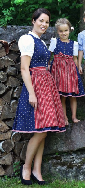 Midi-Dirndl dunkelblau mit roter Schürze, Trachtn Bäda