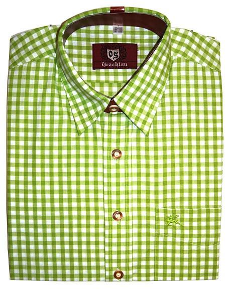 Trachtenhemd kariert hellgrün, OS-Trachten