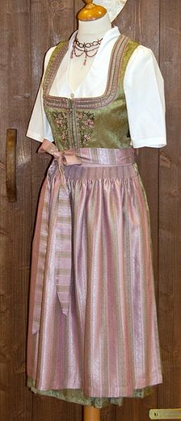 Schilfgrünes Midi-Dirndl mit rosa Schürze, Tramontana