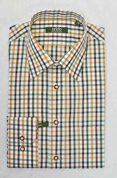 """Herrenhemd, braun, grün, beige, weiß, kariert, Arido, """"Slim"""""""