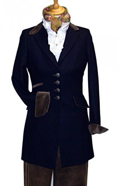 Damen Lang-Blazer marineblau, Kragen Samt in taupe von Bauer