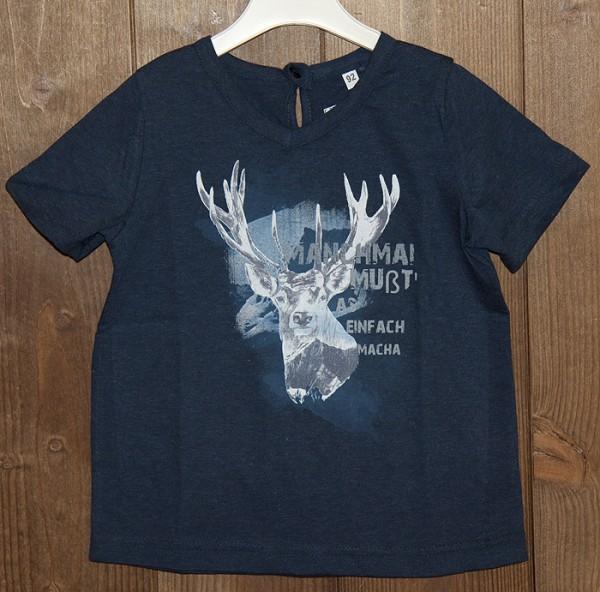 Dunkelblaues T-Shirt mit Hirschdruck, Isar Trachten