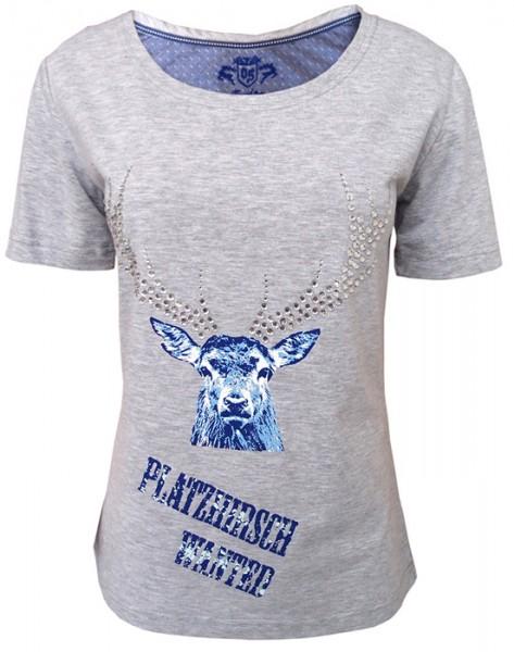 """Damen T-Shirt """"Platzhirsch wanted"""" in hellgrau, OS-Trachten"""