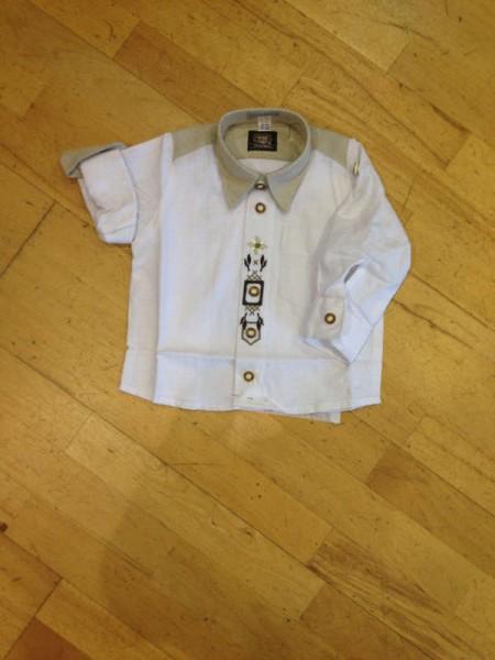 Kinderhemd, Leinenoptik mit Stickerei, OS-Trachten