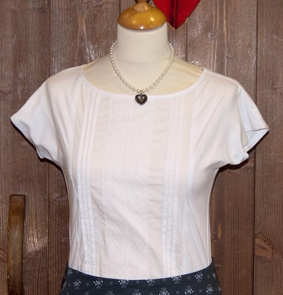 Schickes weißes T-Shirt mit Spitze, Hess