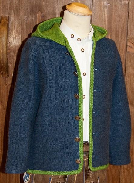 Blaue Kinderstrickjacke mit grüner Kapuze, Litzlfelder