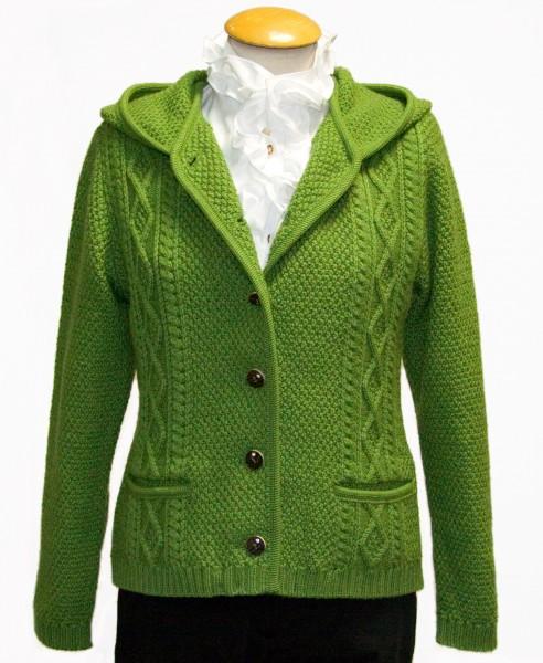 Damenstrickjacke mit Kapuze, grün, Litzlfelder