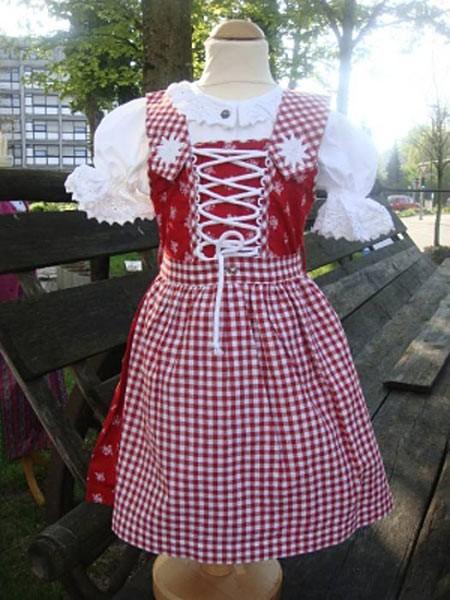 """Kinder Dirndl rot """"52398"""" mit weißen Streublümchen, Isar Trachten"""