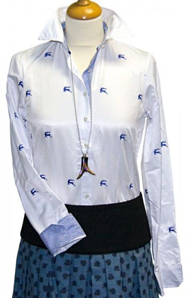Langarm-Bluse mit gestickten Hirschen in kornblau, OS-Trachten