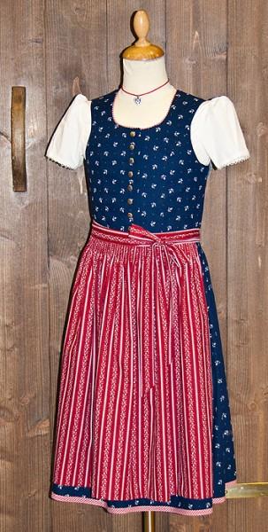 Kinderdirndl dunkelblau mit roter Schürze, Trachtn Bäda