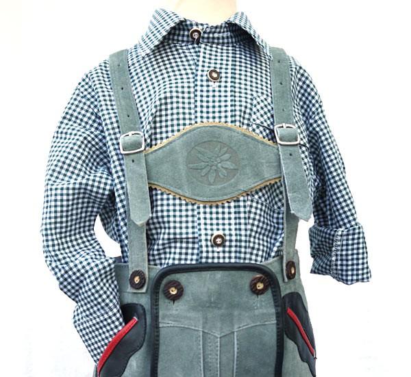 Kinderhemd dunkelgrün-weiss kariert, von OS-Trachten