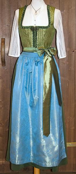 Midi-Dirndl helles Olivgrün mit himmelblauer Schürze, Trachtn Bäda
