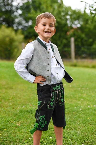 Kinderweste grau mit dunkelgrünem Stehkragen, Isar Trachten