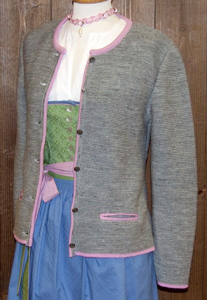 Hellgraue Strickjacke mit rosa Einfassungen, Isar Trachten