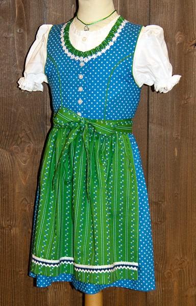 Kinderdirndl in dunklem Himmelblau mit grüner Schürze, Isar Trachten